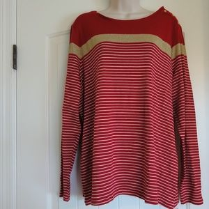 Charter Club Woman Long sleeve red and gold shirt